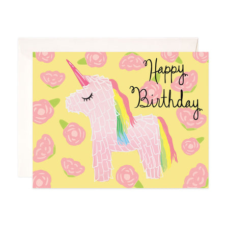 Unicorn Birthday - Bloomwolf Studio Birthday Card, Pink Unicorn, Pink Roses, Yellow Background