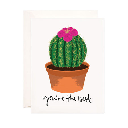 You're the Best - Bloomwolf Studio Card That Says You're the Best, Orange Pot, Green Round Cactus With Red Flowers on Top
