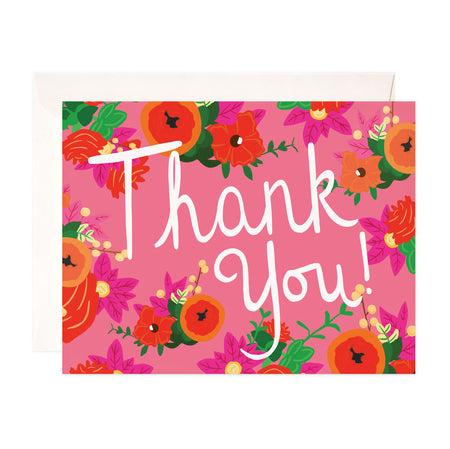 Bloomwolf Thank You - Bloomwolf Studio Thank You Card, Bright Colors, Red, Pink, Orange Flowers, Green Leaves