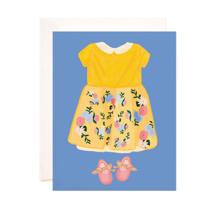 Baby Girl Dress - Bloomwolf Studio Card With Blue Background, Yellow Girl Baby Dress, Floral Skirt, Pink Shoes