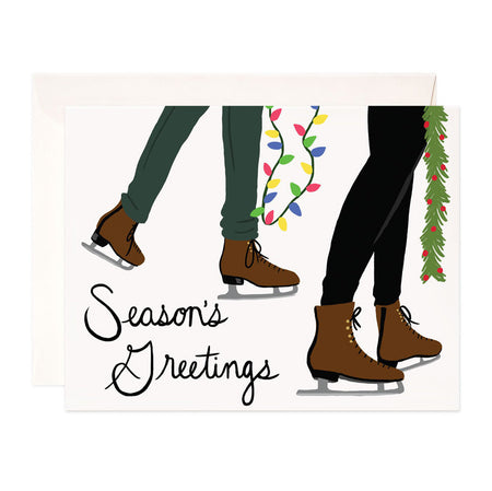 Season's Greetings - Bloomwolf Studio Christmas + Holiday Card, Ice Skating, Brown Skate Shoes, Green and Blue Pants