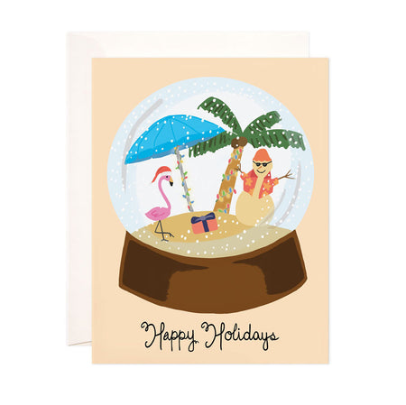 Tropical Christmas + Holiday - Bloomwolf Studio Christmas + Holiday Card, Snow Globe, Pink Flamingo, Blue Umbrella, Sand Snowman