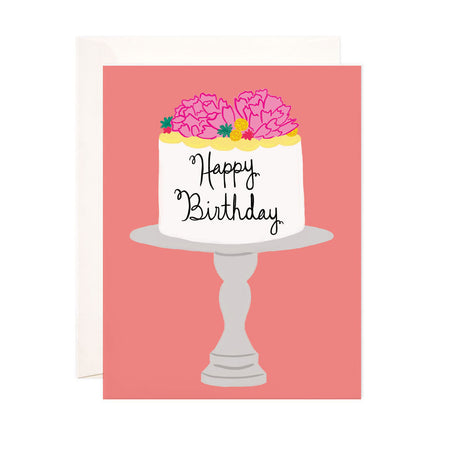 Happy Birthday Cake - Bloomwolf Studio Birthday Card, White Cake, Pink Flowers, Yellow Side Icing
