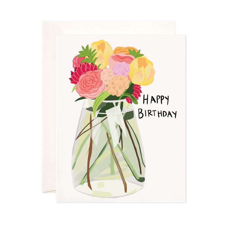 Flower Vase Birthday - Bloomwolf Studio Birthday Card, Pink, Red, Yellow, Beige and Purple Flowers in a Glass Vase