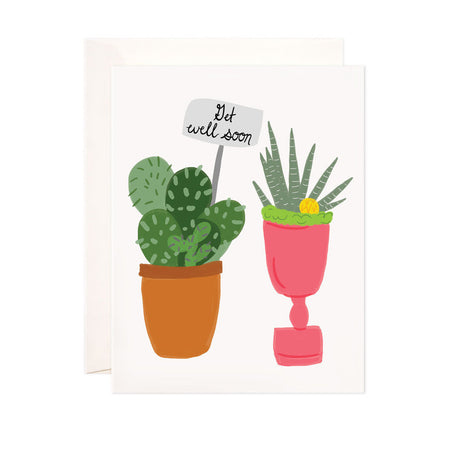 Get Well Soon - Bloomwolf Studio Get Well Soon Card, Green Indoor Plants, Cacti, Brown and Pink Pots
