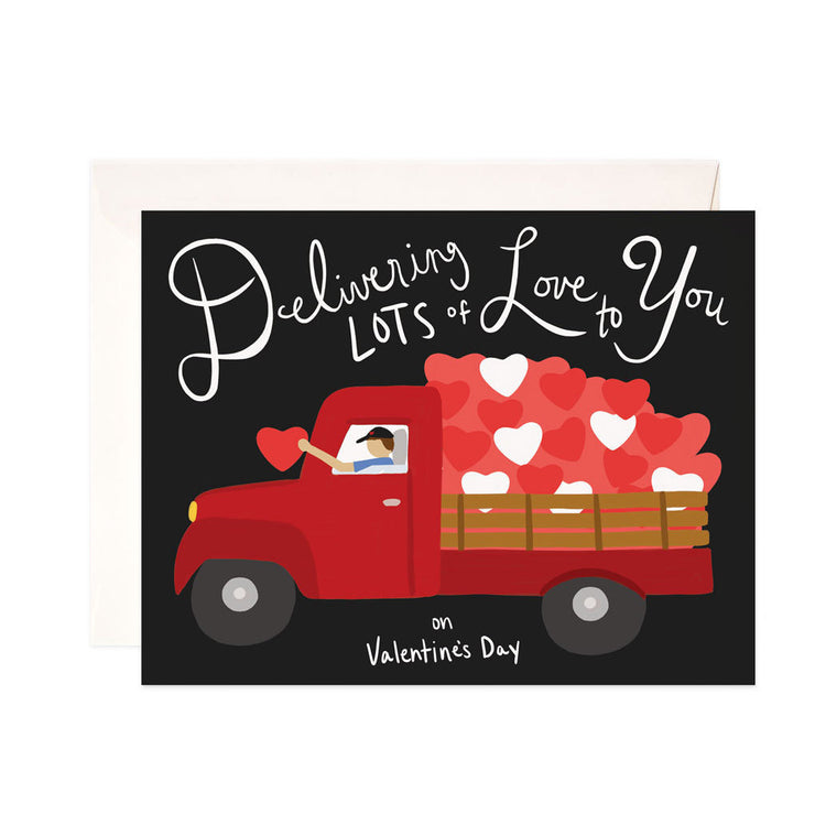 Delivering Love Valentine - Bloomwolf Studio Valentines Day Card, Black Background, Red Truck, Red Hearts