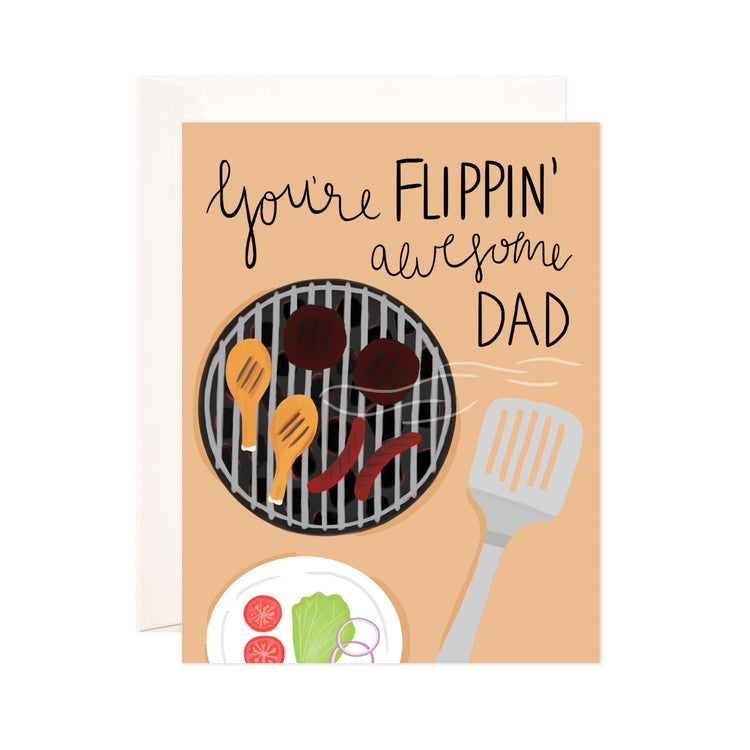 Flippin' Awesome Dad - Bloomwolf Studio Father's Day Card, Neutral Colors, Grilled Steak, Chicken and Hot Dog, Veggies