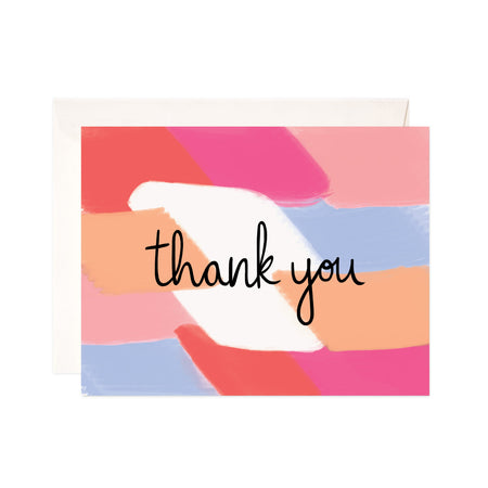 Colorful Thank You - Bloomwolf Studio Thank You Card,  Red, Orange, Pink, Purple Brush Strokes