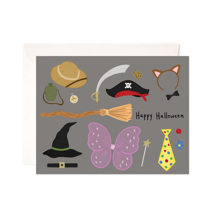 Happy Halloween - Bloomwolf Studio Card That Says Happy Halloween, Neutral and Bright Colors, Kids Halloween Costumes