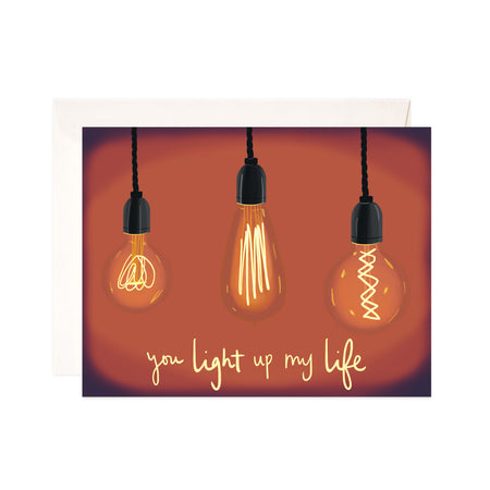 Light up My Life - Bloomwolf Studio Card That Says You Light up My Life, Neutral Colors, 3 Light Bulbs