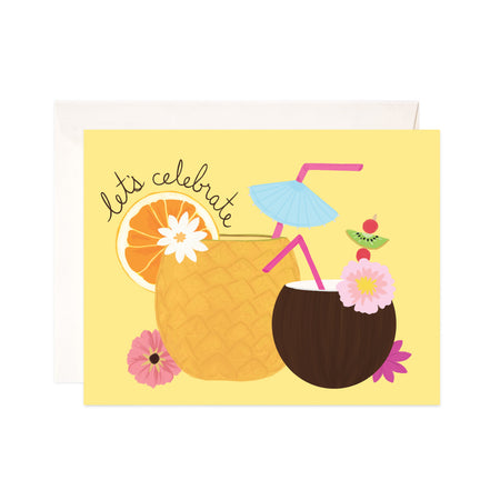 Tropical Drinks - Bloomwolf Studio Card That Says Let's Celebrate,  Yellow Fruits, Coconut, Pink Straw and Flowers
