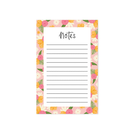 Floral Notepad - Bloomwolf Studio Notepad, Pink, Yellow and White Flowers Design on Each Side