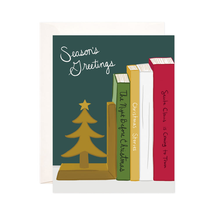 Christmas + Holiday Books - Bloomwolf Studio Christmas + Holiday Card, 4 Green, Yellow, White and Red Christmas + Holiday Books, Tree, Bookstand