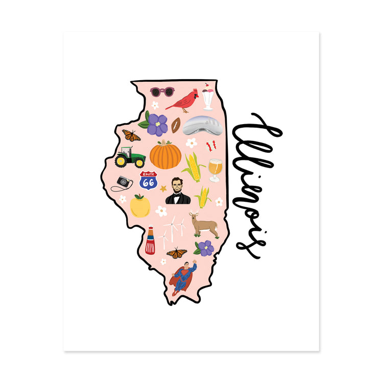 State Art Prints - Illinois - Bloomwolf Studio Print of Illinois Map, Things to Do, Bright Colors, State Landmarks + Historical Places + Notable Places