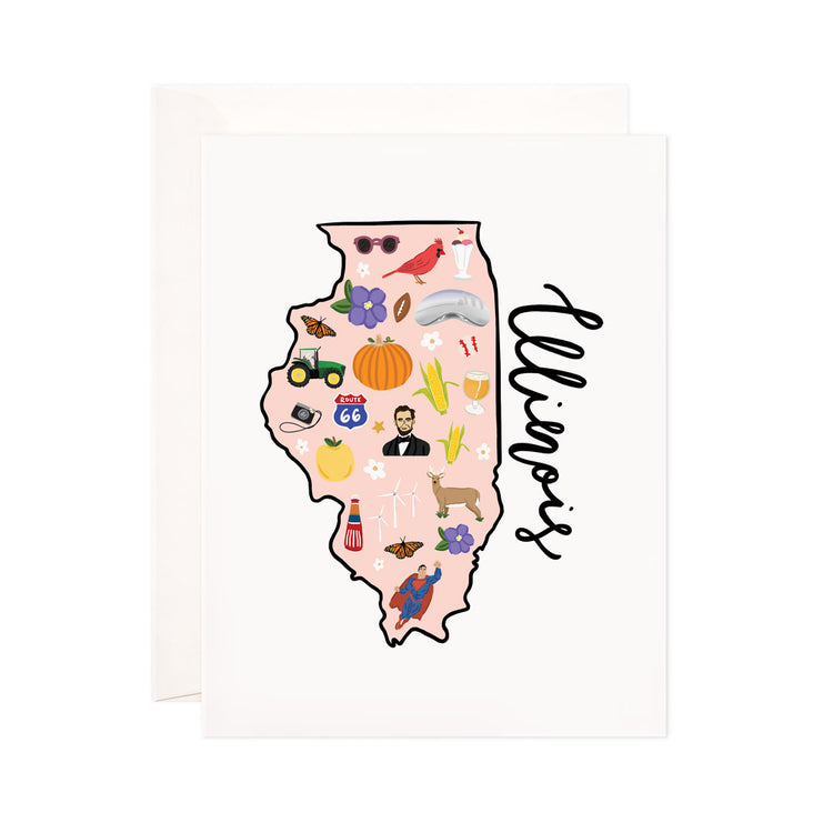 Illinois - Bloomwolf Studio Card About Things to Do in Illinois , Map, Bright Colors, State Landmarks + Historical Places + Notable Places