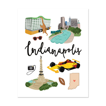 City Art Prints - Indianapolis - Bloomwolf Studio Print About Things to Do in Indianapolis, Bright Colors, City Landmarks + Historical Places + Notable Places