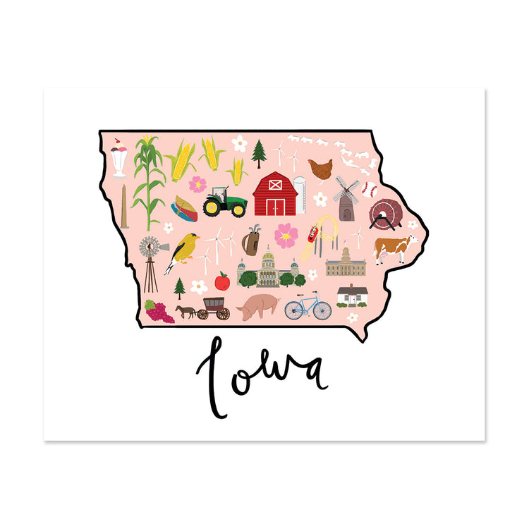 State Art Prints - Iowa - Bloomwolf Studio Print of Iowa Map, Bright Colors, Things to Do, City Landmarks + Historical Places + Notable Places