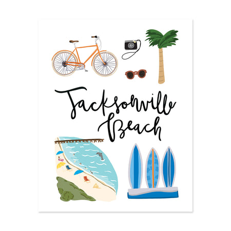 City Art Prints - Jacksonville Beach - Bloomwolf Studio Print About What to Do in Jacksonville Beach, Bright Colors, State Landmarks + Historical Places + Notable Places, Beach