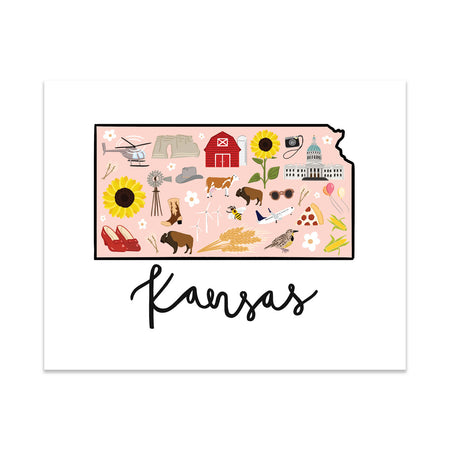 State Art Prints - Kansas - Bloomwolf Studio  Print About Things to Do in Kansas, Bright Colors, Landmarks + Historical Places + Notable Places, Peach Background