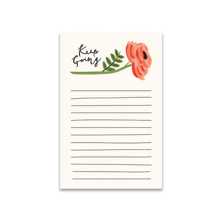 Keep Going Notes Notepad - Bloomwolf Studio Notepad That Says Keep Going, One Stemmed Red Flower, Green Leaves
