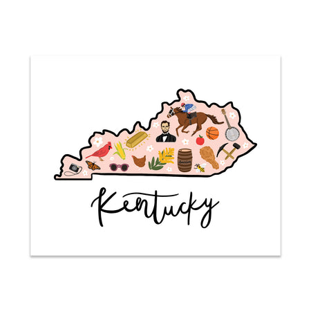 State Art Prints - Kentucky - Bloomwolf Studio  Print of Kentucky Map, Things to Do, Bright Colors, State Landmarks + Historical Places + Notable Places