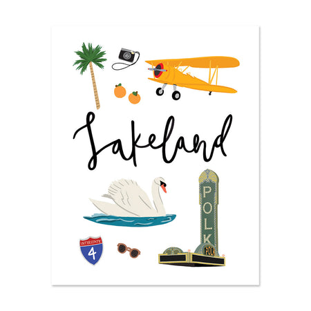 City Art Prints - Lakeland - Bloomwolf Studio Print About What to Do in Lakeland, Neutral, Bright Colors, City Landmarks + Historical Places + Notable Places