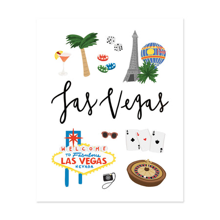 City Art Prints - Las Vegas - Bloomwolf Studio Print About What to Do in Las Vegas, White Background, Neutral, Bright Colors City Landmarks + Historical Places + Notable Places
