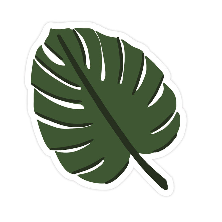 Monstera Leaf Sticker - Bloomwolf Studio Sticker of 1 Green Monstera Leaf