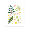 Leaves & Petals Art Print - Bloomwolf Studio Print of Leaves, Greens, Pink, White and Yellow Petals