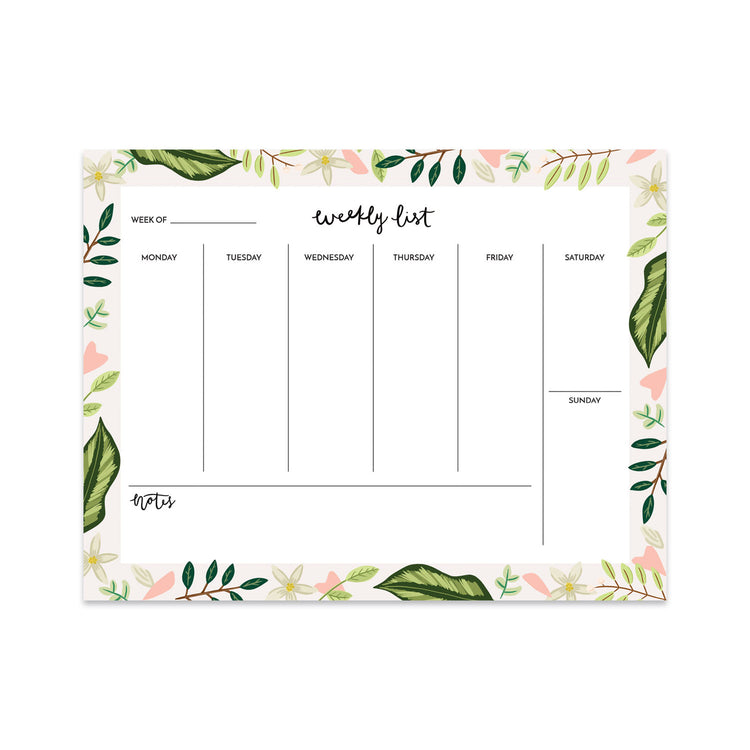 Leaves Weekly Planner - Bloomwolf Studio Weekly List Notepad, White Flowers, Pink Hearts, Green Leaves
