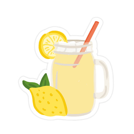 Lemonade Sticker - Bloomwolf Studio Sticker of a Yellow Lemonade in a Pitcher With Red Straw, Yellow Lemon