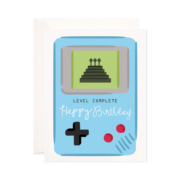 Level Complete Birthday - Bloomwolf Studio Happy Birthday Card, Blue Gaming Device, Green Screen