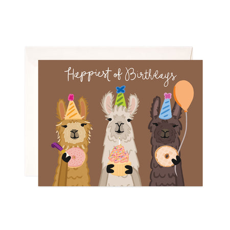 Llama Birthday - Bloomwolf Studio Birthday Card, 3 Orange, Gray, Brown Llama, Pastel Colors Donuts and Cupcake, Party Hats