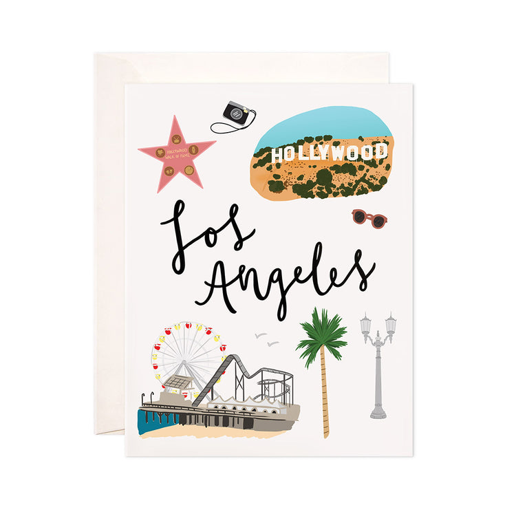 Los Angeles - Bloomwolf Studio Card About What to Do in Los Angeles, Neutral and Bright Colors, City Landmarks + Historical Places + Notable Places