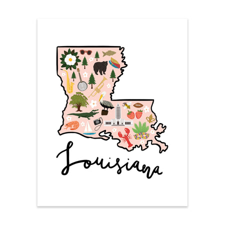 State Art Prints - Louisiana - Bloomwolf Studio Print of Louisiana Map, Things to Do, Bright Colors, State Landmarks + Historical Places + Notable Places