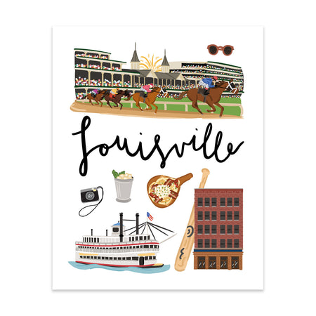 City Art Prints - Louisville - Bloomwolf Studio Print About Louisville, Things to Do, Bright Colors, State Landmarks + Historical Places + Notable Places