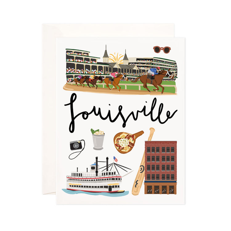 Louisville - Bloomwolf Studio Card About Things to Do in Louisville, Bright Colors, State Landmarks + Historical Places + Notable Places