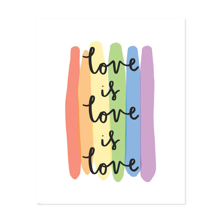 Love Is Love Art Print - Bloomwolf Studio Print That Says Love Is Love Is Love, Pastel Rainbow Colors