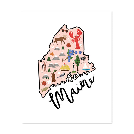 State Art Prints - Maine - Bloomwolf Studio Print of Maine Map, Bright Colors, Things to Do, State Landmarks + Historical Places + Notable Places