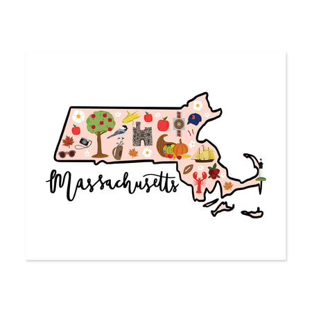 State Art Prints - Massachusetts