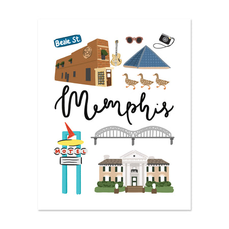 City Art Prints - Memphis - Bloomwolf Studio Print About Memphis, Neutral Colors, City Landmarks + Historical Places + Notable Places