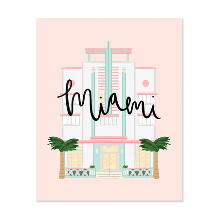 City Art Prints - Miami Art Deco - Bloomwolf Studio Miami Print, Pastel Colors, One of Miami's Landmark
