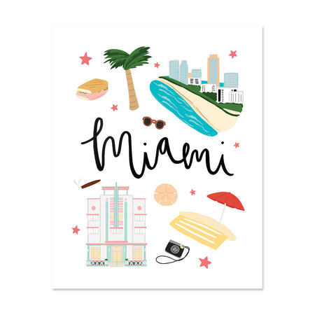 City Art Prints - Miami - Bloomwolf Studio Print About Miami, Neutral Colors, City Landmarks + Historical Places + Notable Places