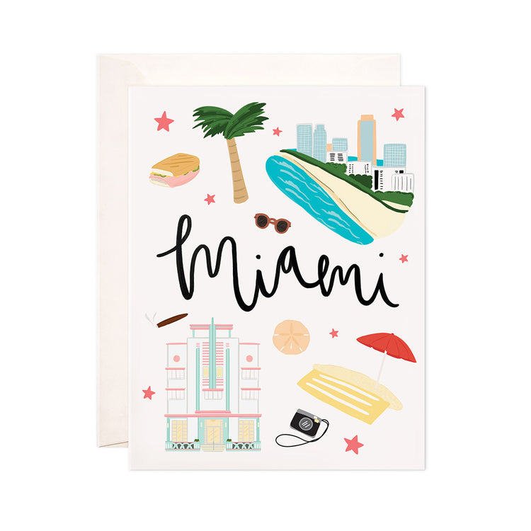 Miami - Bloomwolf Studio Card About Things to Do in Miami, Bright and Pastel Colors, City Landmarks + Historical Places + Notable Places
