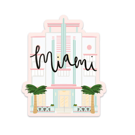 Miami Sticker - Bloomwolf Studio Sticker of Miami Historic Landmark, Pink and Green, Freedom Tower