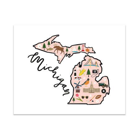 State Art Prints - Michigan - Bloomwolf Studio Print of Michigan Map, Things to Do, Bright Colors, State Landmarks + Historical Places + Notable Places