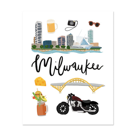 City Art Prints - Milwaukee - Bloomwolf Studio Print About Things to Do in Milwaukee, Neutral Colors, City Landmarks + Historical Places + Notable Places