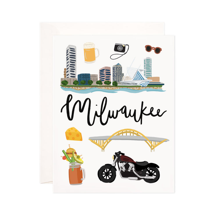 Milwaukee - Bloomwolf Studio Card About Things to Do in Milwaukee, Bright Colors, State Landmarks + Historical Places + Notable Places