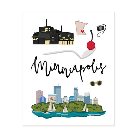 City Art Prints - Minneapolis - Bloomwolf Studio Print About Things to Do in Minneapolis, City Landmarks + Historical Places + Notable Places, Green, Blue, Black, Yellow, Red