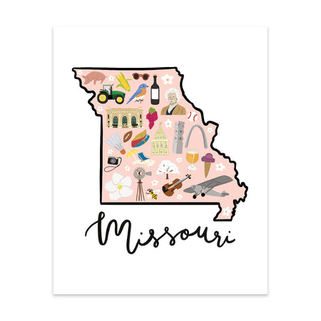 State Art Prints - Missouri - Bloomwolf Studio Print About Things to Do in Missouri, Map, Bright Colors, State Landmarks + Historical Places + Notable Places